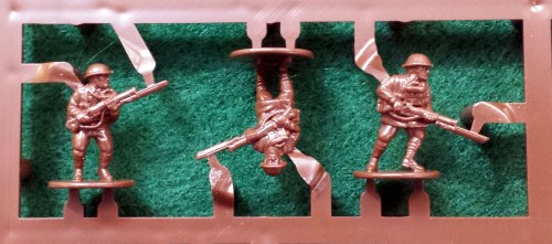 The dreaded British bayonets on the sprue. Good sprue cutters and some patience are a must, but it's not as scary as it looks.